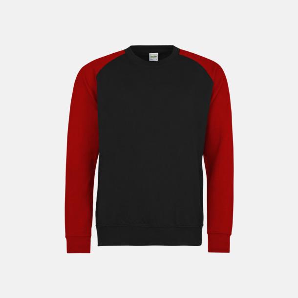 Jet Black/Fire Red Kontrast tröjor med reklamtryck