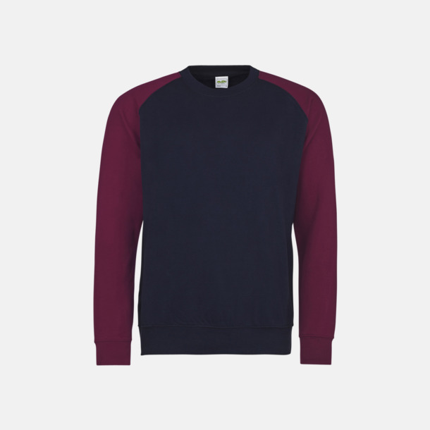 Oxford Navy/Burgundy Kontrast tröjor med reklamtryck