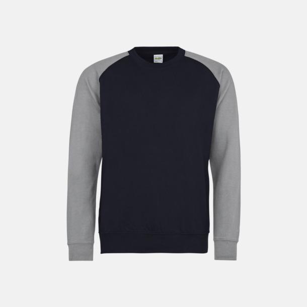 Oxford Navy/Heather Grey Kontrast tröjor med reklamtryck