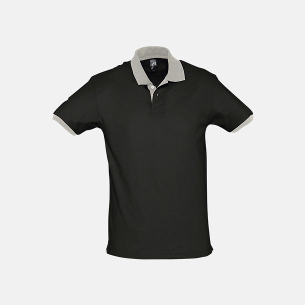 Svart/Ljusgrå (solid) Unisex pikétröjor med reklamtryck