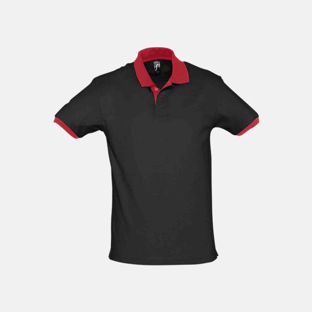 Svart / Röd Unisex pikétröjor med reklamtryck