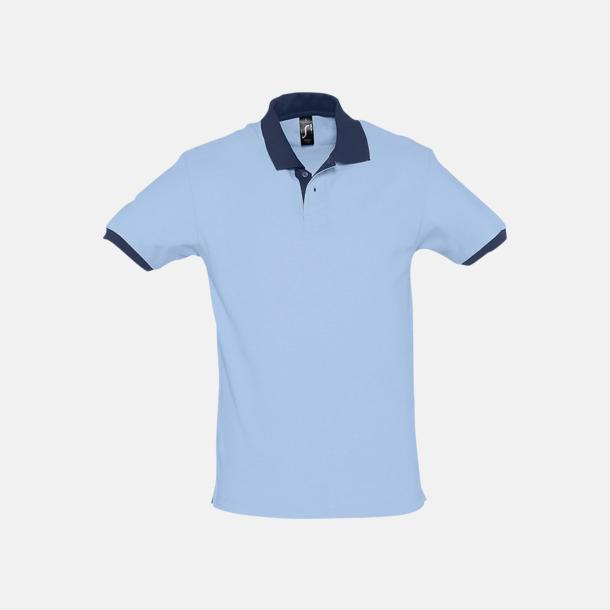 Sky Blue/French Navy Unisex pikétröjor med reklamtryck