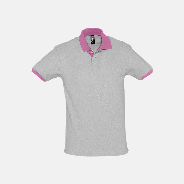 Grey Melange/Orchid Pink Unisex pikétröjor med reklamtryck