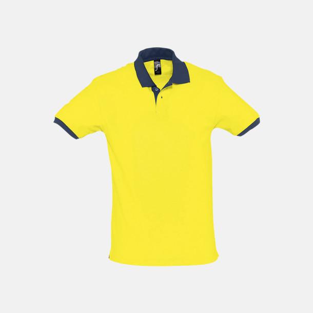 Lemon/French Navy Unisex pikétröjor med reklamtryck