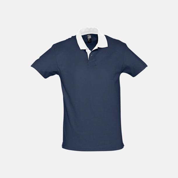 French Navy/Vit Unisex pikétröjor med reklamtryck