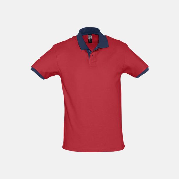 Röd/French Navy Unisex pikétröjor med reklamtryck