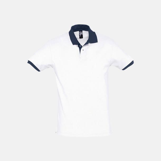 Vit/French Navy Unisex pikétröjor med reklamtryck