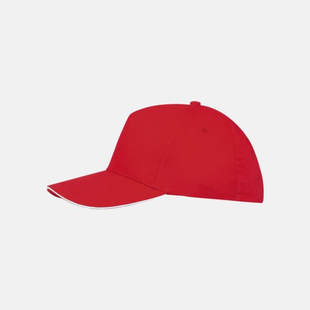 Röd/Vit (vuxen) Kepsar för vuxna & barn - med reklamlogo