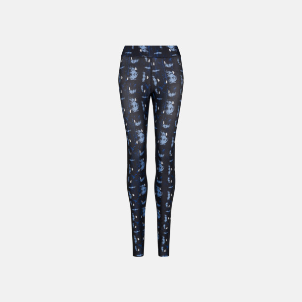 Abstract Blue Sportleggings med mönster - med reklamlogo