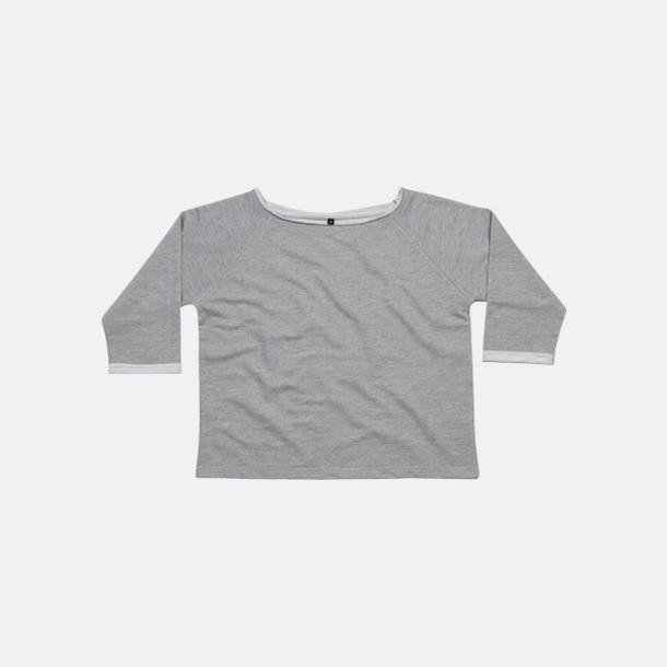 Heather Grey Melange Eko 80-tals tröjor med reklamtryck