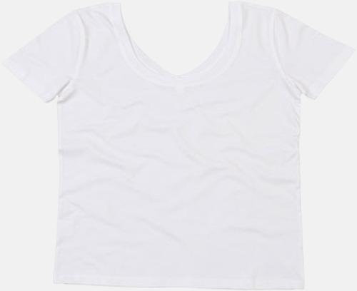 Vit Dam -t-shirts med v- OCH u-hals - med reklamtryck