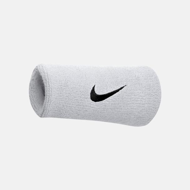 Vit / Svart Extra breda armsvettband från Nike med reklamlogo