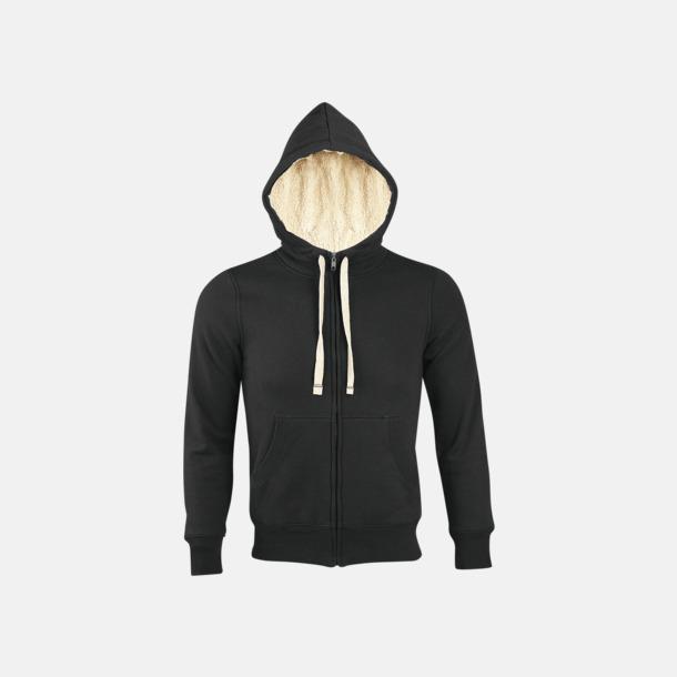 Svart Sherpafodrade hoodies med reklamtryck