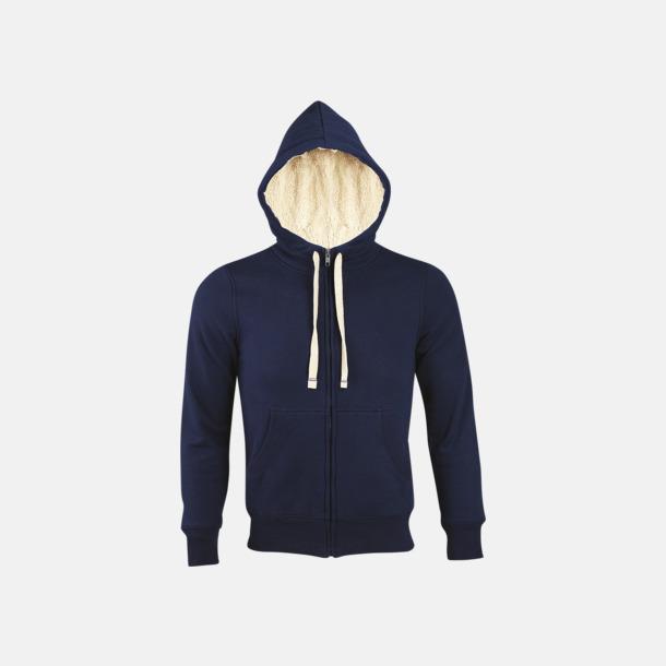 French Navy Sherpafodrade hoodies med reklamtryck