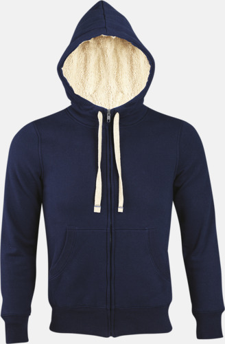 French Navy Sherpafodrade hoodies med reklamtryck