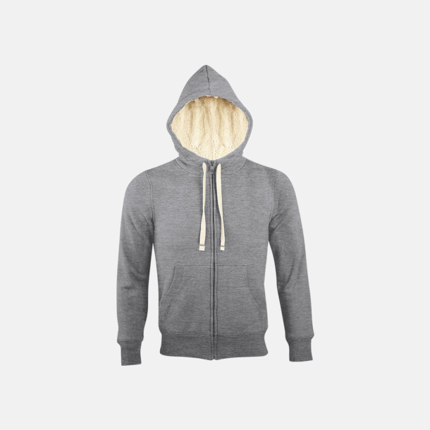 Grey Melange Sherpafodrade hoodies med reklamtryck