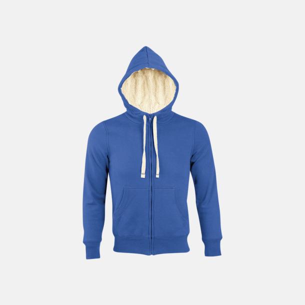 Royal Blue Sherpafodrade hoodies med reklamtryck