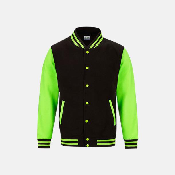 Jet Black/Electric Green Populära Varsityjackan i klara färger med reklamtryck