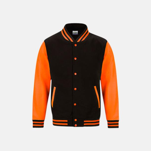 Jet Black/Electric Orange Populära Varsityjackan i klara färger med reklamtryck