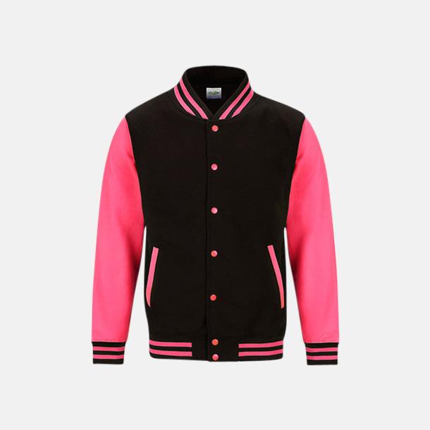 Jet Black/Electric Pink Populära Varsityjackan i klara färger med reklamtryck