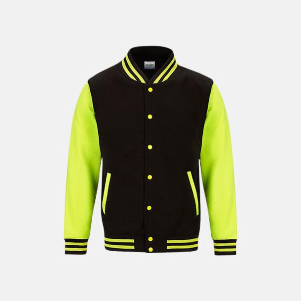 Jet Black/Electric Yellow Populära Varsityjackan i klara färger med reklamtryck