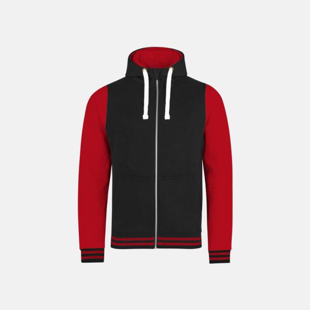 Jet Black/Fire Red (unisex) Trendiga unisex huvtröjor med reklamtryck