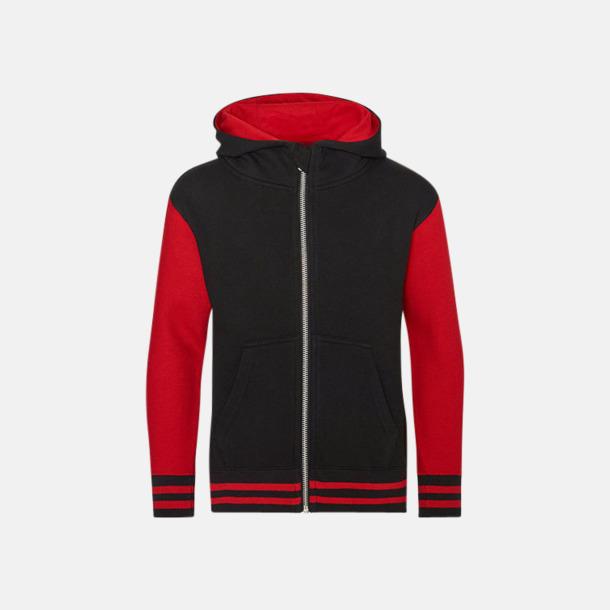 Jet Black/Fire Red (barn) Trendiga unisex huvtröjor med reklamtryck