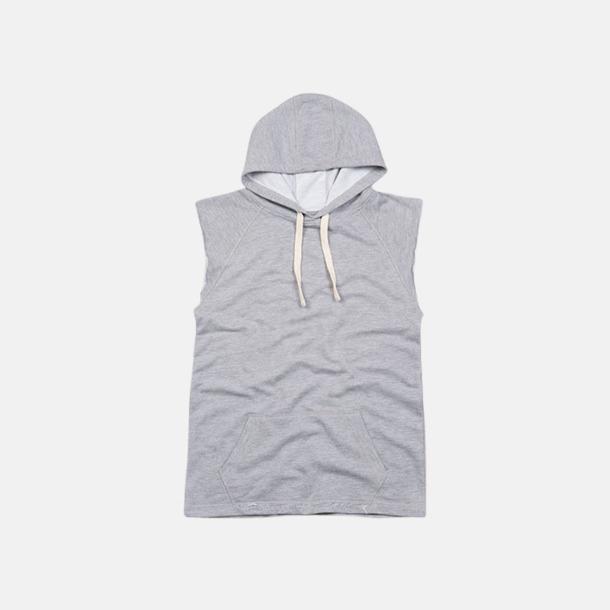 Heather Grey Melange Stora dam huvtröjor utan ärmar - med reklamtryck