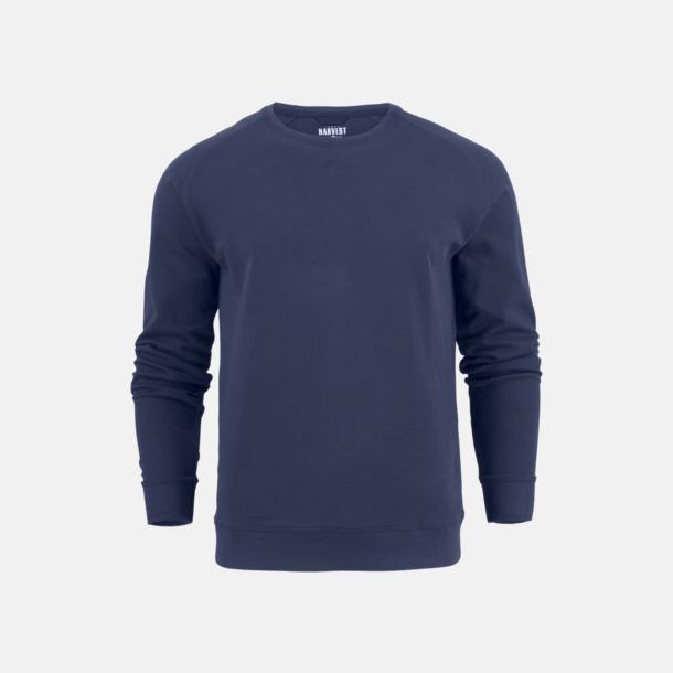 Marinblå (herr) Premium collegetröjor med reklamtryck