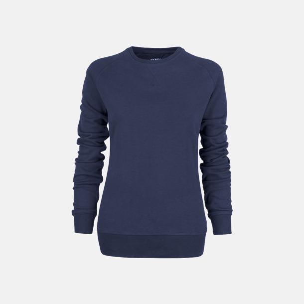Marinblå (dam) Premium collegetröjor med reklamtryck