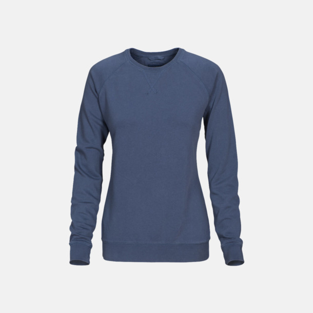 Faded Blue (dam) Premium collegetröjor med reklamtryck