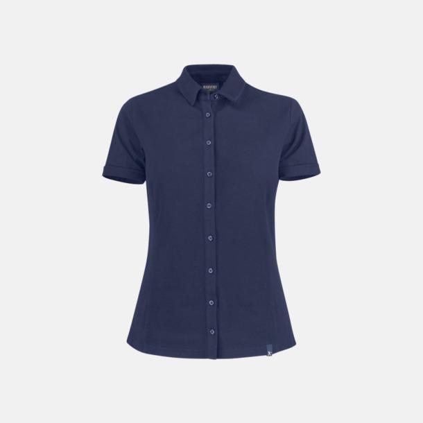 Marinblå Premium dam pikétröjor från James Harvest med reklamtryck