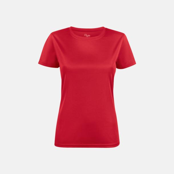 Röd (dam) Kvalitets funktions t-shirts med reklamtryck