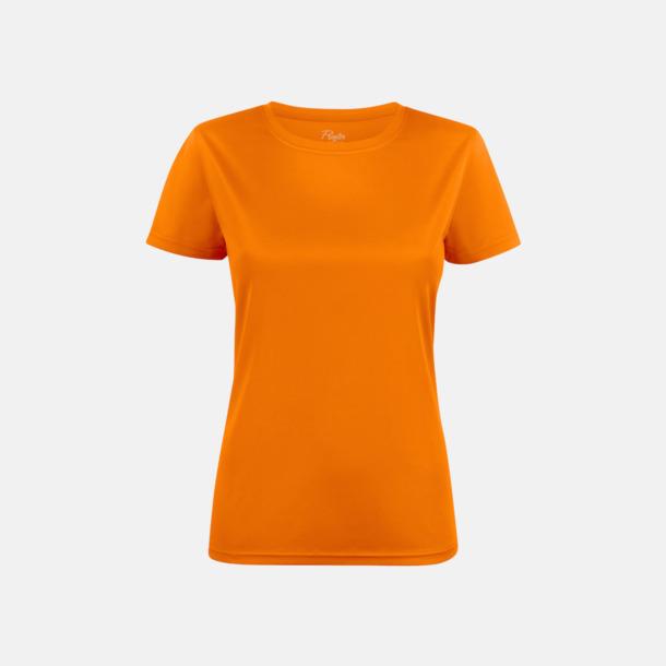 Orange (dam) Kvalitets funktions t-shirts med reklamtryck