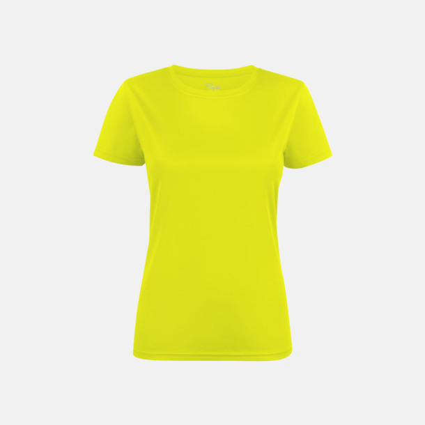 Neon Yellow (dam) Kvalitets funktions t-shirts med reklamtryck