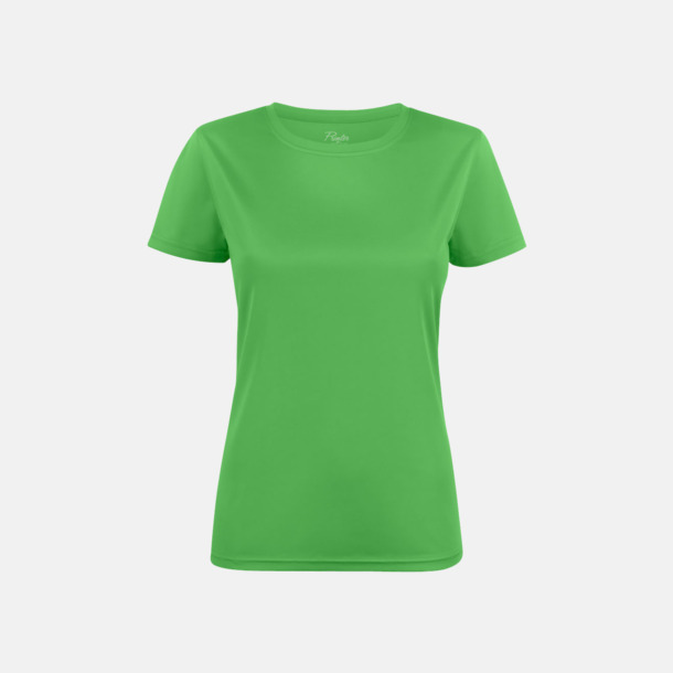 Limegrön (dam) Kvalitets funktions t-shirts med reklamtryck