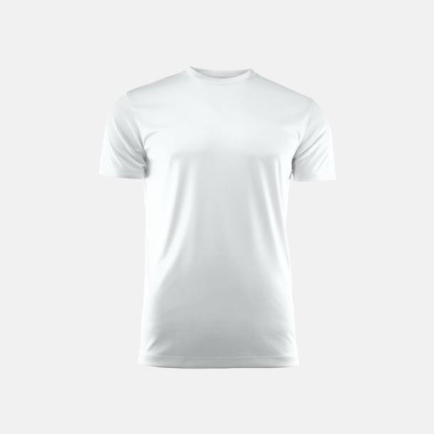 Vit (unisex) Kvalitets funktions t-shirts med reklamtryck