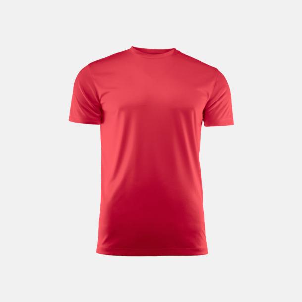 Röd (unisex) Kvalitets funktions t-shirts med reklamtryck