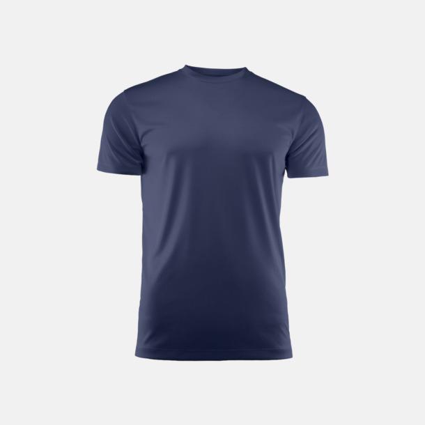 Marinblå (unisex) Kvalitets funktions t-shirts med reklamtryck