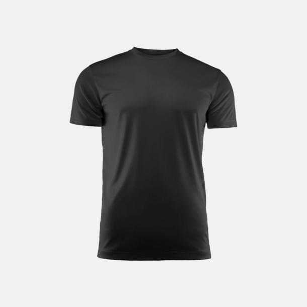 Svart (unisex) Kvalitets funktions t-shirts med reklamtryck