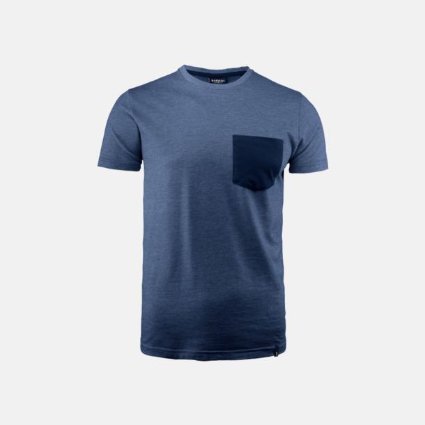Navy Melange Fickförsedda unisex t-shirts med reklamtryck