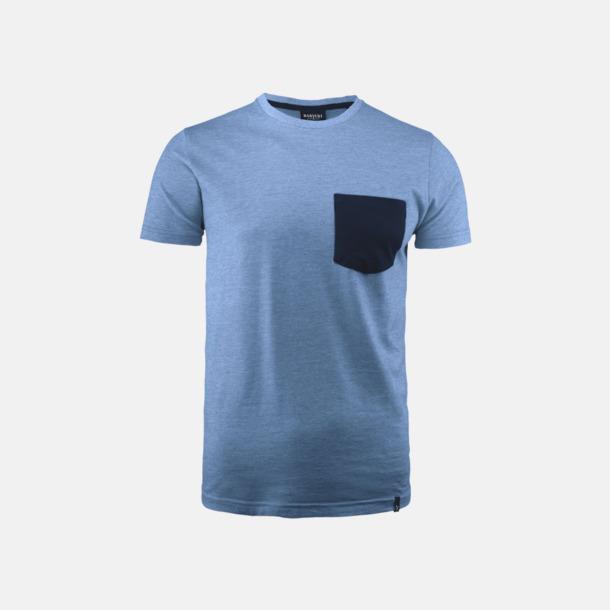 Light Blue Melange Fickförsedda unisex t-shirts med reklamtryck