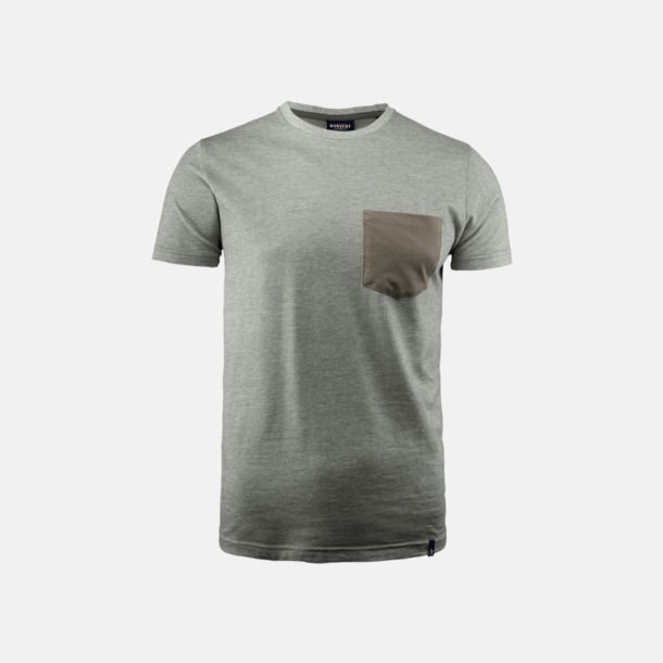 Grey Melange Fickförsedda unisex t-shirts med reklamtryck