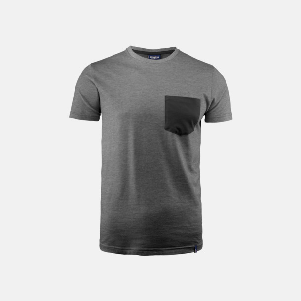 Black Melange Fickförsedda unisex t-shirts med reklamtryck