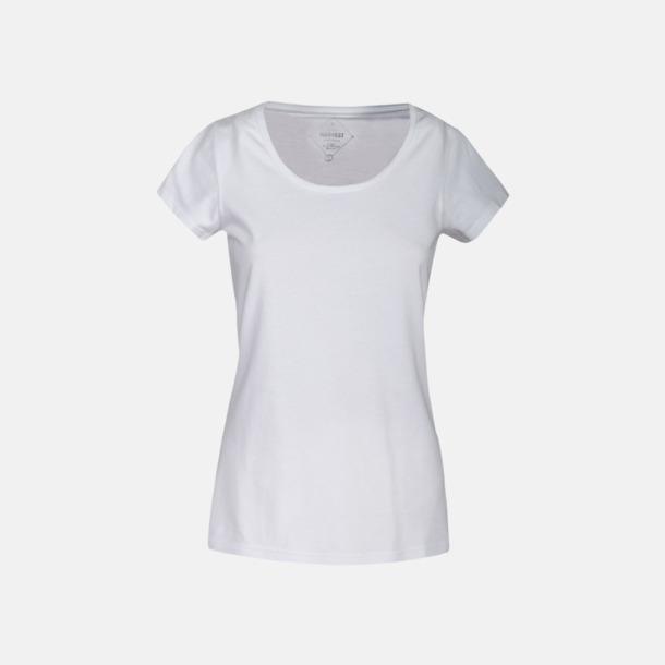 Vit (dam) Kvalitets t-shirts i bomull med reklamtryck