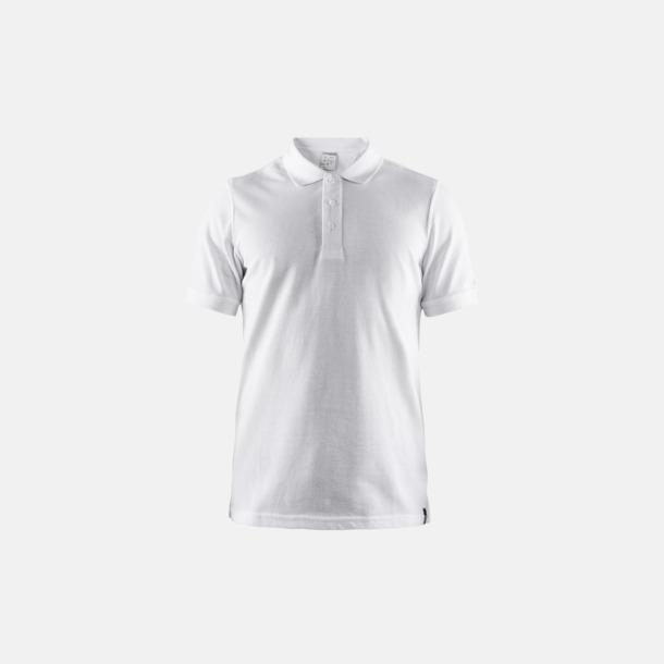 Vit (herr) Craft pikétröjor med eget reklamtryck