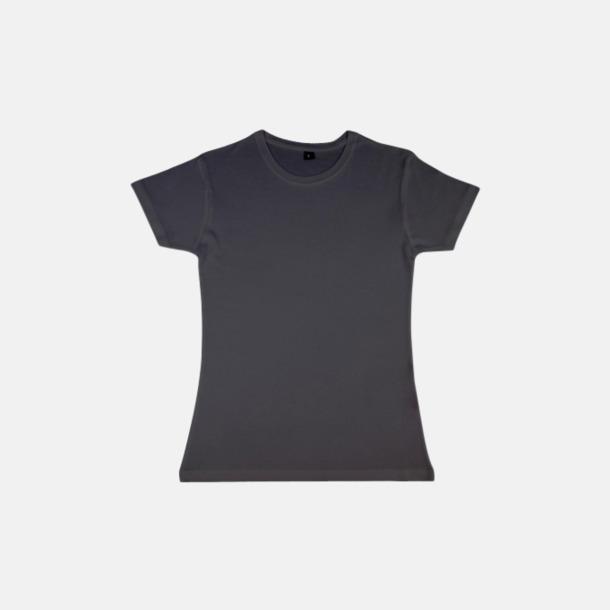 Asphalt (dam) Eko t-shirts i viskos- & bomullsblandning med reklamtryck