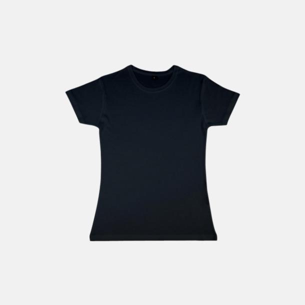 Svart (dam) Eko t-shirts i viskos- & bomullsblandning med reklamtryck