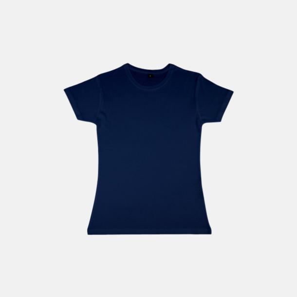 Marinblå (dam) Eko t-shirts i viskos- & bomullsblandning med reklamtryck