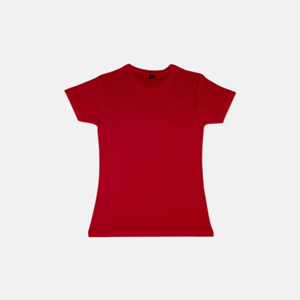 Röd (dam) Eko t-shirts i viskos- & bomullsblandning med reklamtryck